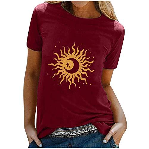 Oversize Tshirt Damen Sonne Mond Motiv Sportshirt Kurzarm, Sport Oberteile Vintage Sweatshirt Damen Rundhals Oberteile Teenager Mädchen T Shirts aijofi