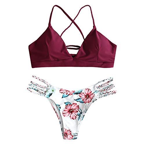 ZAFUL - Bikini trenzado acolchado para mujer, con cordones, diseño floral granate L