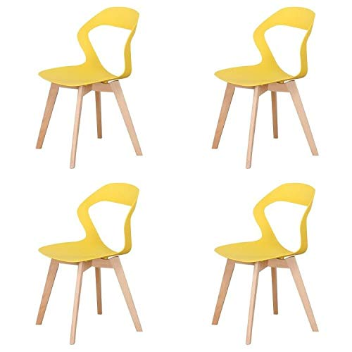 Conjunto de 4 sillas minimalistas modernas con diseño hueco para proteger la cintura y la columna vertebral (amarillo, 4)