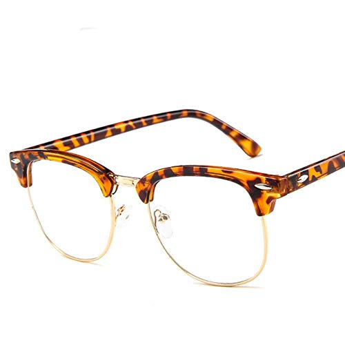 BXing, Montura de Gafas de Metal con Media Montura, Montura de Moda para Mujer, Gafas Transparentes de Color sólido, Gafas clásicas Retro para Hombre, Cristal, Leopardo