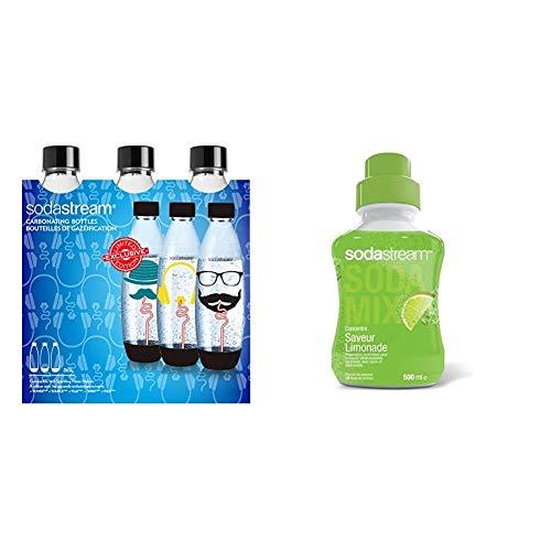 Sodastream Pack 3 Bouteilles de 1L, Grand, Plastique - 26,5 x 9 x 26 cm - Modèle Aléatoire &...