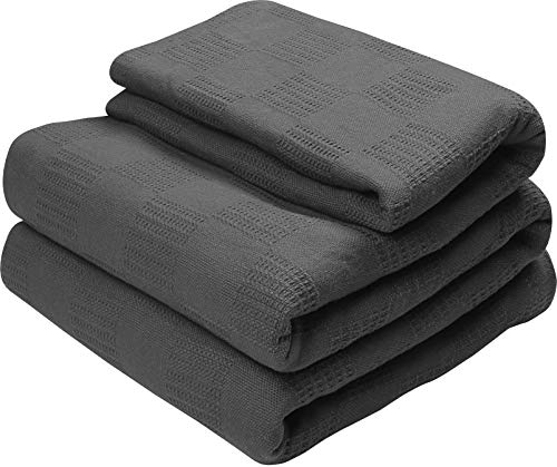 Utopia Bedding Premium Cotton Blanket King/California King Grey - Soft Breathable Thermal Blanket - Ideal for Layering Any Bed