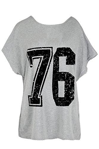 Oops Outlet -  T-Shirt - Maniche Corte - Donna 76 Grey Black S/M (40/42)