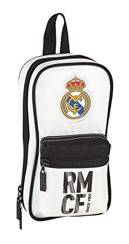 Safta Real Madrid-Plumier Mochila, 23 cm, Blanca/Negra