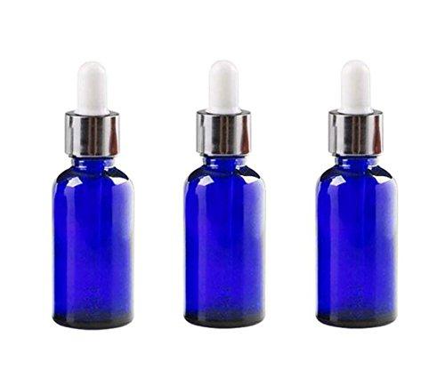 Bouteilles en verre 3PCS 15ml avec gouttes pour les yeux en verre vides récipients vides rechargeables d'huile essentielle de parfum aromathérapie (Bleu)