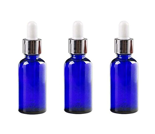 3 tarros de botellas de cristal vacíos con tapa de goma blanca para rellenar aceites esenciales, color azul