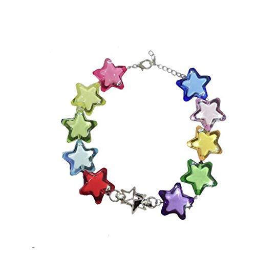 TFGUOqun Fashion Cool Rainbow Star Acrylic Charm Necklace Necklace Women's Girl Creative Punk Hip Hop Geometric Necklace Gift Fashion Jewelry For feminine decoration (Metal Color : A)