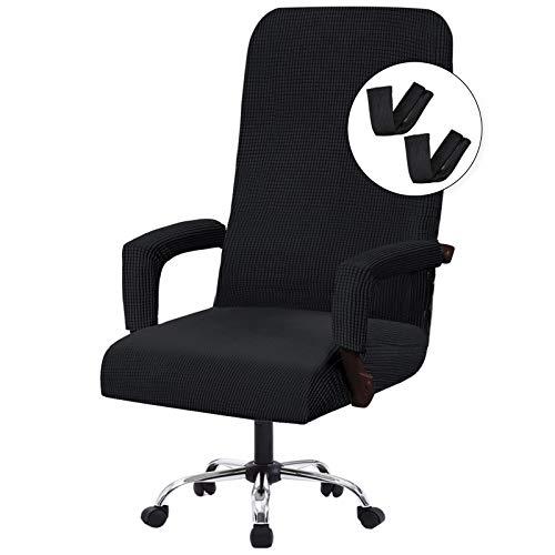 Flamingo P - Fundas elásticas para silla de oficina para ordenador y silla universal para silla de oficina, estilo contemporáneo, respaldo alto, jacquard grueso, 2 fundas para...