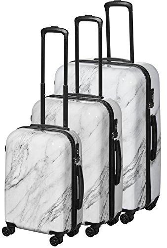 Pure - Hartschalen-Koffer Marmor - 3-teiliges Trolley-Set - Reisekoffer mit 4 Rollen und TSA-Schloss in den Größen S, M & L - Weiß