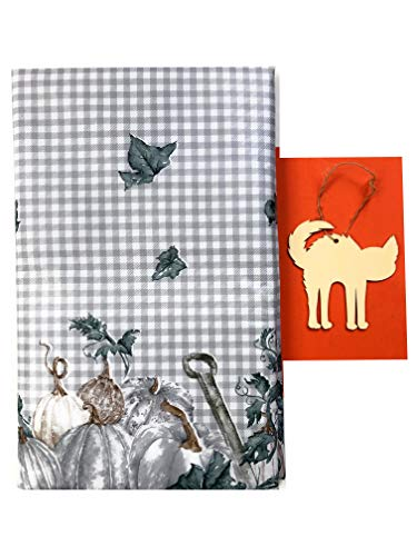 Fall Vinyl Tablecloth, Beautiful Checkered Flannel Pumpkin Patch Design, Soft Flannel Backing, Various Sizes, DIY Festive Cat Ornament Craft Included (52in x102in Oblong)