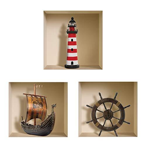 The Nisha Art Magic 3D Vinyl Removable Wall Sticker Decals DIY, Set of 3, Pirates 022-UK