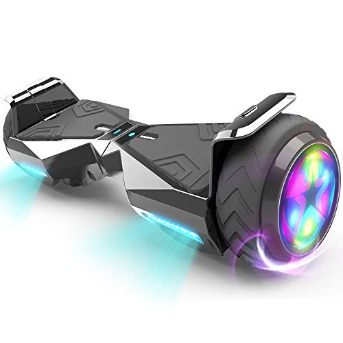 HOVERSTAR Hoverboard HS 2.0v Chrome Color Flash Wheel with LED Light Self Balancing Wheel Electric Scooter (Chrome Black)