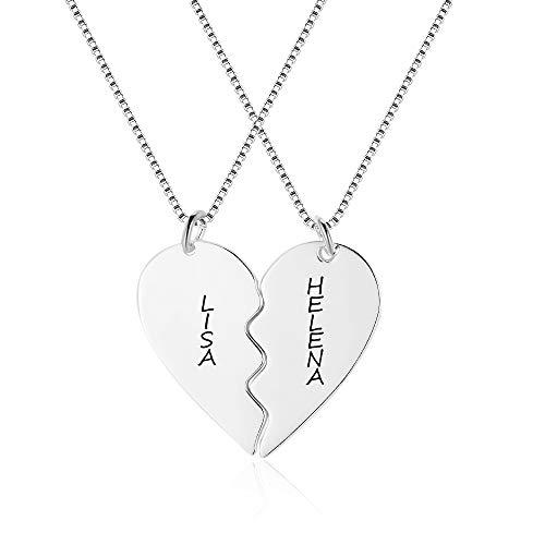 XiXi Freundschaftskette für 2/3/4 Personalisierte BFF Ketten Halskette Damen Kette Herz Anhänger Namenskette Personalisierter Schmuck (Freundschaftskette für 2, Messing rhodiniert)