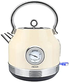 ZKIAH Electric Tea Kettle 1.7L Stainless Steel, Vintage Fast Boiler Tea Kettle Water Heater with Temperature Dial, Boil-Dr...