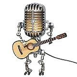 laoonl Lámpara de robot de micrófono hecha a mano con guitarra metal arte lámpara de escritorio USB carga ornamento decoración del hogar