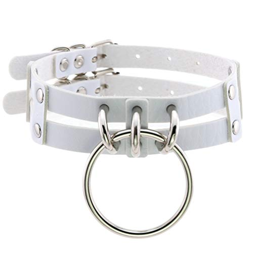 FM FM42 White PU Simulated Leather Double Straps Large O Ring Neckband Collar Choker PN2422