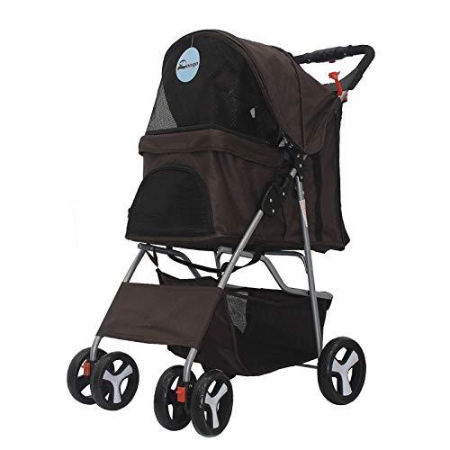 PULLEY Cochecito plegable para mascotas, 4 ruedas de fácil caminata para mascotas, capacidad máxima de 12 kg, cochecito de perro y gato