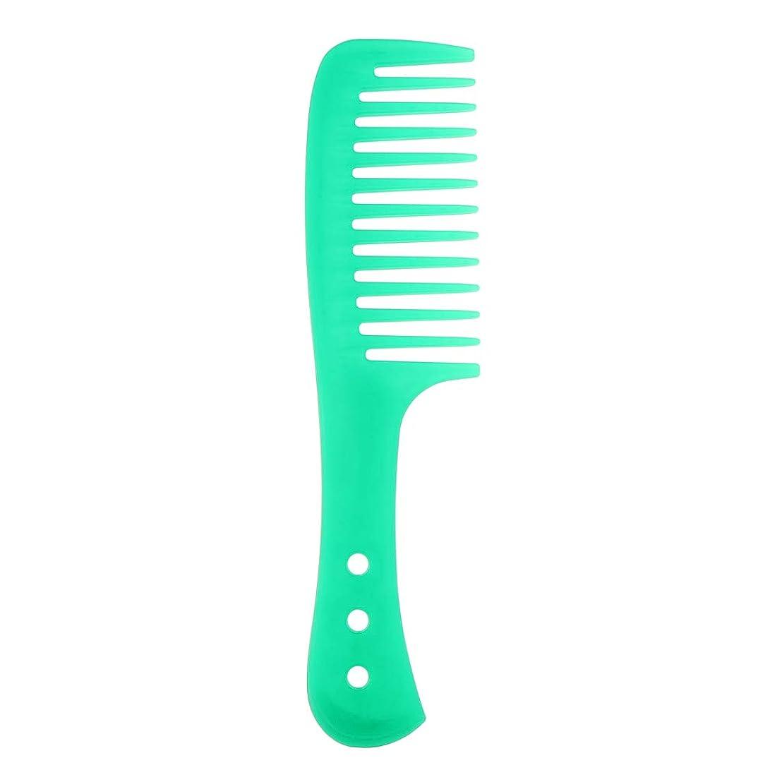 スケルトン最終既婚ポータブル理髪広い歯の櫛巻き毛のDetangler頭皮マッサージブラシ - 緑