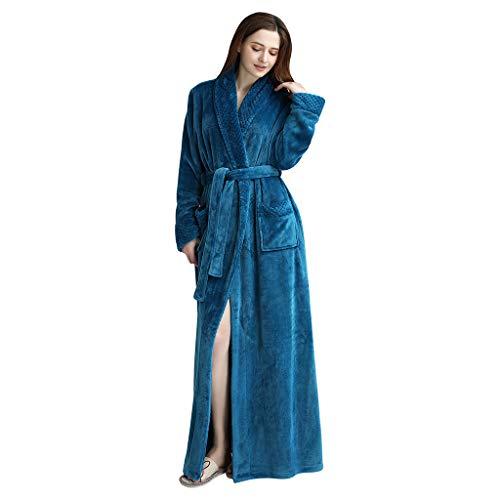 Susenstone Peignoir Femme Velours Robe De Chambre Polaire Femme Chaud ÉPais Long Flanelle Peignoir De Bain Homme Eponge Hiver Longue Pyjama avec Ceintures (L(EU38), Femme-Bleu)