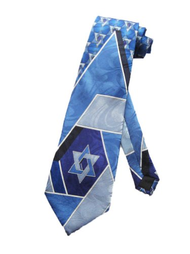 Steven Harris Mens Jewish Star of David Necktie - Blue - One Size Neck Tie