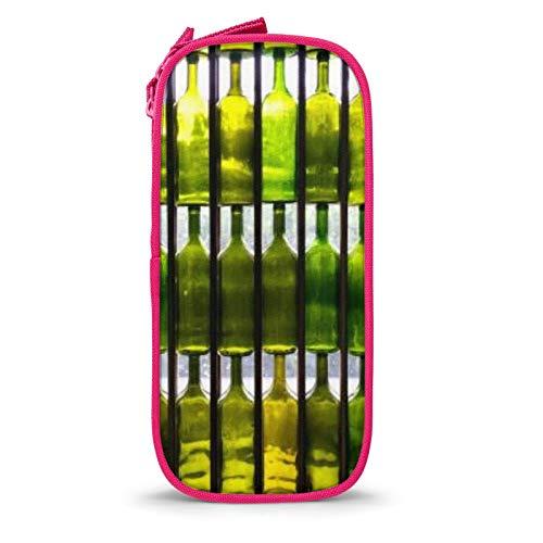 Estuche de gran capacidad para lápices, botella de vino de pared, bolsa grande con compartimentos, para niños, estudiantes, adultos, oficina