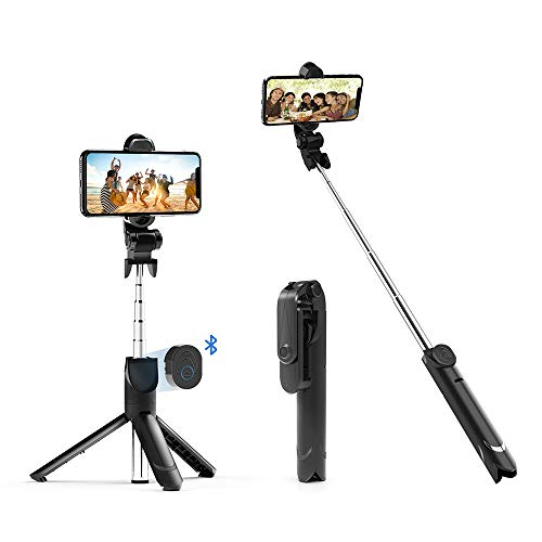 Bluetooth Selfie Stick Tripod, Extendable Selfie Stick with Detachable Wireless Remote Shutter and Integrated Tripod Stand for iPhone 11Pro Max/Xs/Xs Max/X/Xr/7/7p/8/8p, Samsung,More