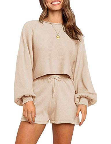 SYZRI Women's 2 Piece Knit Outfits Puff Sleeve Crop Top Shorts Set Sweater Sweatsuit, Apricot, M