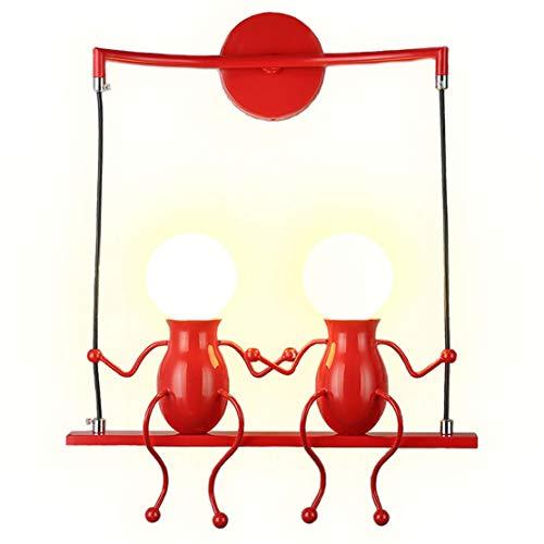 lampadario yoxang Lampade da parete per soggiorno Applique da parete creativa del fumetto della camera da letto moderna che accende Lampade da comodino regolabili a LED Regalo per bambini 2 × E27 (Rosso)