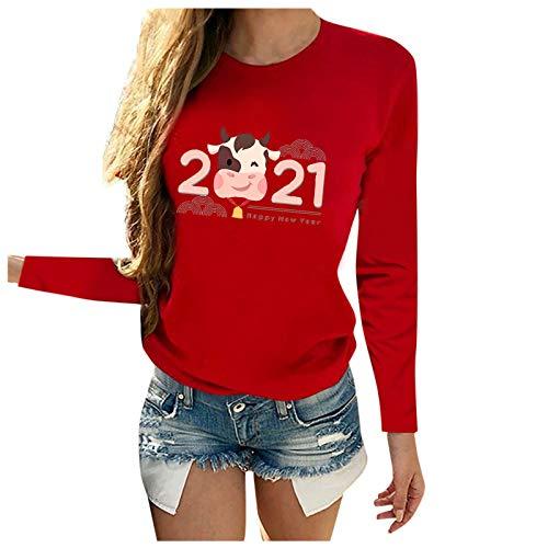 Dicomi Women Herbst Pullover O-Neck Drucken Sweatshirt Pulli Rundhals Langarm T-Shirt Bluse Tops