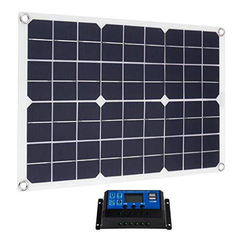 MagiDeal 20W Panel Solar Flexible 10A 12V 24V Controlador Cargador de Coche para RV Coche Barco