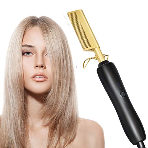 Electric Hot Comb Hair Straightener, Copper Hair Ceramic Straghtener for Wet and Dry Hair, Portable Curling Iron Heated Brush, Beard Straightener Press Comb for Men (Black and yellow Color)