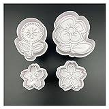 Cortadores de Galletas , 4pcs Set Flower Plástico Decorativo Biscuit Molde BRICOLAJE Herramientas de decoración de pastel de cocina Herramientas de galletas Fondant de Fondant Die ( Color : White )
