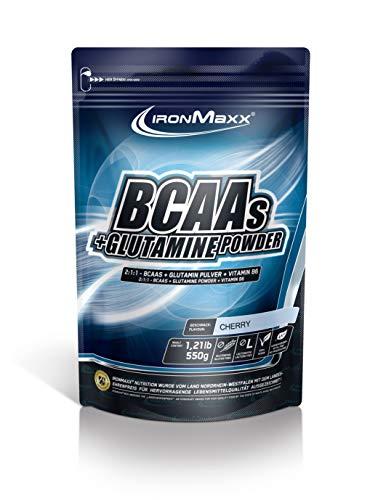 IronMaxx BCAA Pulver + Glutamin Pulver – Hohe Konzentration an Aminosäuren und L-Glutamin – Muskelaufbau und Muskelerhalt – Vitamin B6 – Wenig Kohlenhydrate & Zucker – Kirsch-Geschmack – 550g
