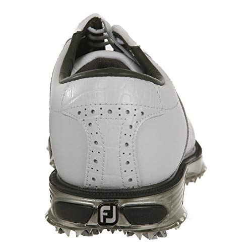 FootJoy mens Dryjoys Tour Previous Season Style Golf Shoes, White/White Croc, 9.5 US