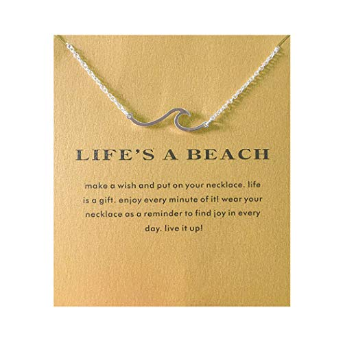 Sun Y Necklace Friendship Anchor Unicorn Elephant Flower Pendant Chain Necklace with Meaning Card (Wave-Silver)