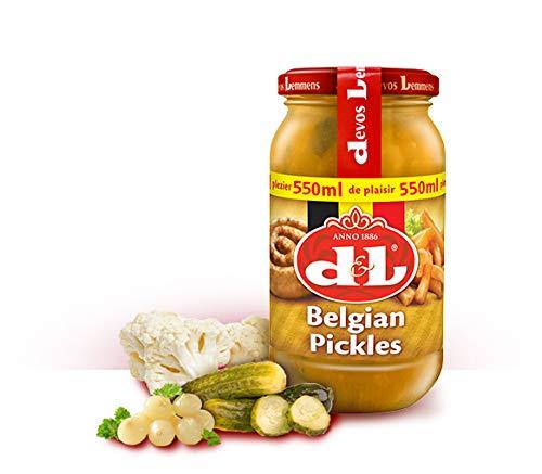 Devos & Lemmens - Encurtidos belgas - Receta original - Botella de 550ml x 1 - Con crujientes trozos de coliflor, pepinillo y cebolla - Sabor único - Recipiente reciclable