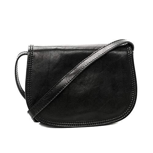CUIR DESTOCK Sac porté épaule Femme porté épaule bandoulière et de travers en véritable cuir fabriqué en Italie Noir