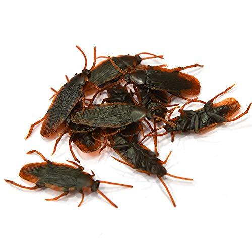 Moligin 10pcs Falsos Cucaracha Cucarachas Novedad Errores De Mirada Realista De Insectos De Los Inocentes Bromas Prácticas Juguetes Broma para Halloween Trick Fools'day Juega El Partido