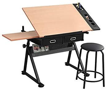 Waful Height Adjustable Drafting Draft Drawing Art Table Desk Tiltable Tabletop Art Craft Paintings Work Station Artist Table for w/ 2 Storage Drawer for Reading Writing Art Craft Work Station
