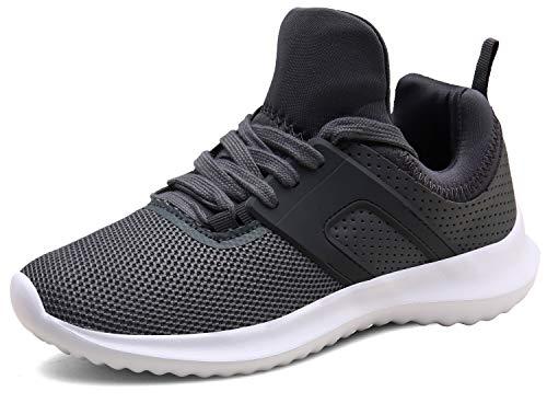 XKMON Laufschuhe Leichte Turnschuhe Fitness Schnürer Gym Sportschuhe für Herren Damen,XZ626-darkgrey-EU37