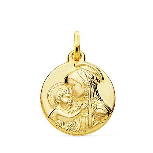 Medalla Virgen Divina Ternura Oro 18k 18mm