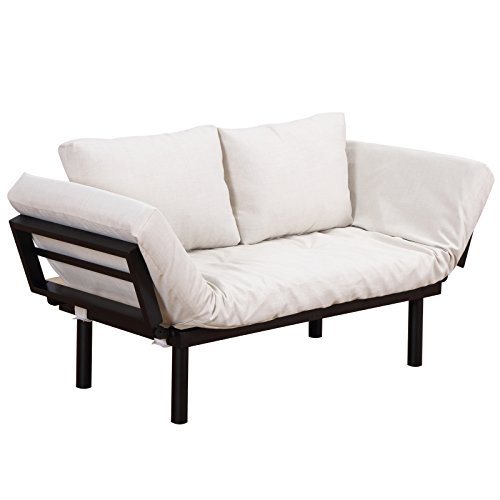 HOMCOM Single Person Chaise Lounger Sofa Bed with 5 Adjustable Positions, 2 Large Pillows, and Birch Legs, Cream White