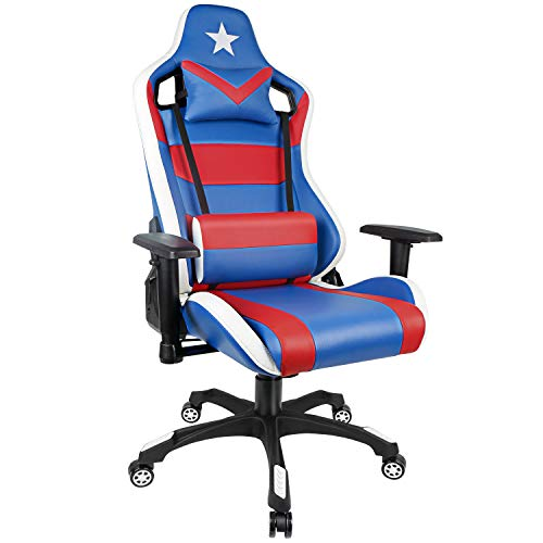 PC Gaming Chair High Back Racing Chair with Adjustable Armrest Blue Red USA Game Chair with Lumbar Support for Men and Women blue chair gaming