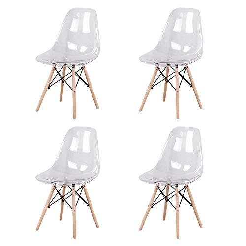 BenyLed - Juego de 4 sillas de comedor de acrílico escandinavo transparente con patas de madera de haya maciza (blanco transparente)