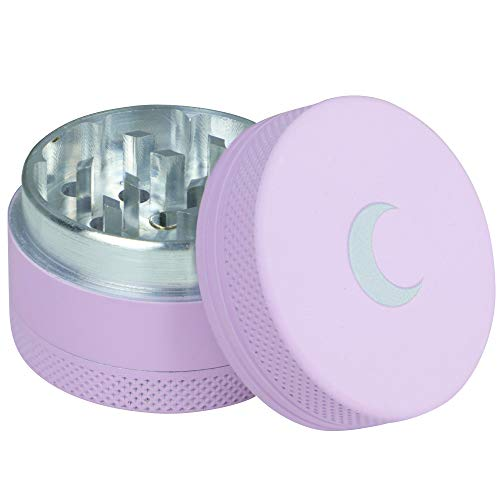 Soft to The Touch 1.5 inch Best Herb Grinder - Premium 3 Piece Small Metal Matte Spice Grinder Purple with Pink Moon, Easy to Carry - Upgraded Version
