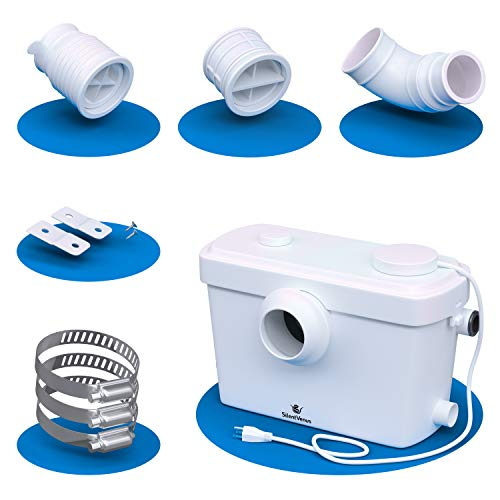 Silent Venus Upflush Systems, White Toilet Macerator Pump for Full Bathroom Anywhere