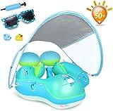 MYYINGELE Flotador de natacin para bebs con toldo Solar sobre flotadores para Piscina Agregar Cola Nunca Voltear (AzulS)