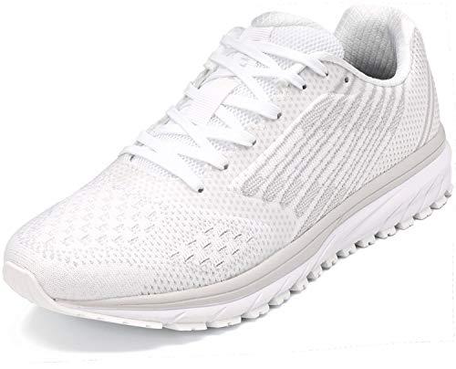 WHITIN Unisex Laufschuhe Herren Hallenschuhe Turnschuhe Sneakers Für Männer Sportschuhe Atmungsaktiv Joggingschuhe Fitness Schuhe Freizeitschuhe Weiß Graue Größe 45