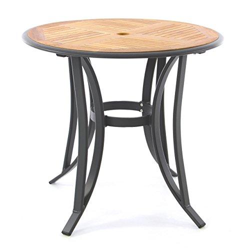 Nexos Trading Nexos Gartentisch Teak-Tisch - rund - Aluminiumgestell Teak-Holz-Platte - robust - Balkontisch Terrassentisch Ø 80 cm - braun (Tischplatte)