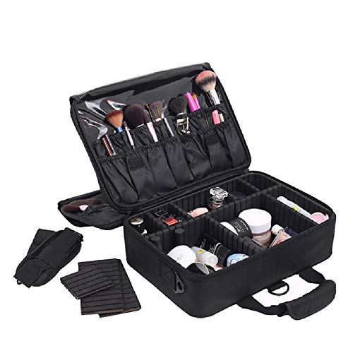Maquillage Case Nail Art Boîte à cosmétiques, vanité voyageuse Grand organisateurs cosmétiques avec tissu en nylon noir